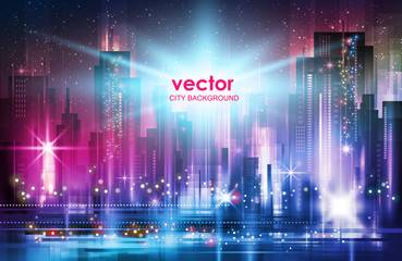 Vector illustration background city night in neon style architecture buildings