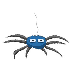 cartoon spider hanging on a cobweb. Vector illustration. Hand drawing