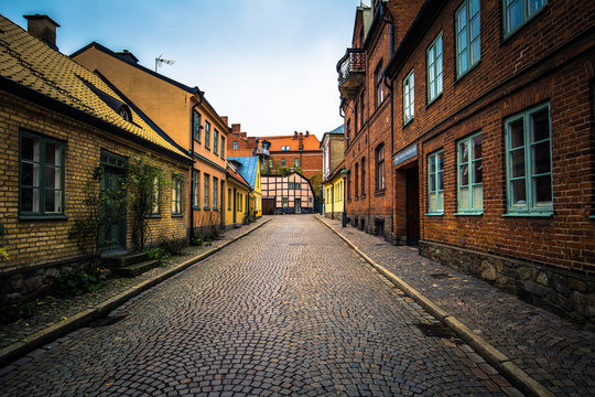 Lund - October 21, 2017: Streets of the historic center of Lund, Sweden