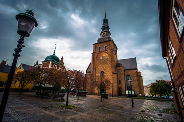 Ystad - October 22, 2017: Saint Mary's Church at the historic center of the town of Ystad in Skane, Sweden