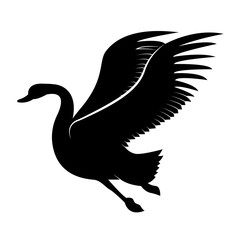 Vector image of a silhouette of a bird swan