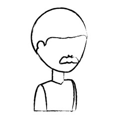 sketch of avatar man with mustache icon over white background vector illustration