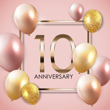 Template 10 Years Anniversary Background with Balloons Vector Illustration