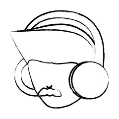 sketch of avatar man with mustache and  using a headphones over white background, vector illustration