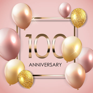 Template 100 Years Anniversary Background with Balloons Vector Illustration