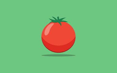 red tomatoes isolated in flat icon design on green color background