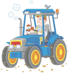 Smiling worker driving his wheeled tractor, a vector illustration in cartoon style