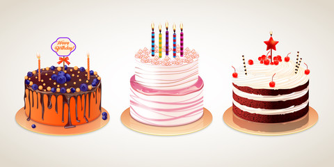Vector set of different delicious cakes isolated on white background. Birthday cakes with cream chocolate berries and candle for holiday design.