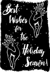 Christmas deer card, hand drawn style. Vintage Christmas elements, reindeer dancing and jumping in holiday mood with text calligraphy. Vector.