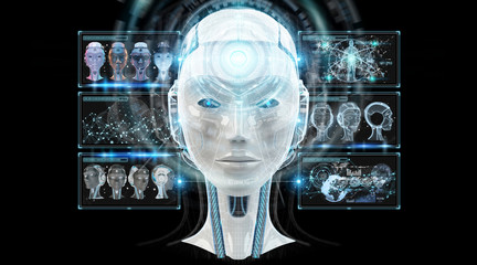 Digital artificial intelligence cyborg interface 3D rendering