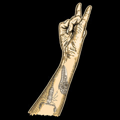 Man hand in rock n roll sign with scorpion and crow or raven, skull. Rock and metal music poster. Male wrist or fist with gesture of demon, evil, Satan. Vector.
