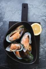 Black bowl with raw kiwi mussels, close-up, selective focus, horizontal shot