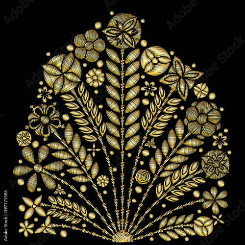 Golden lace vector design contemporary lace background ornamental golden lace vector design contemporary lace background ornamental flowers embroidery style floral background for stopboris Images
