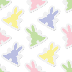 seamless illustration - pastel colors bunnies