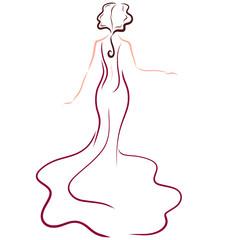 Elegant lady in a long solemn dress, back