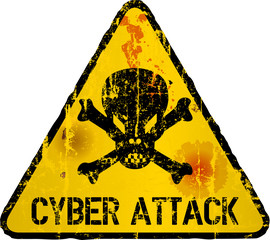 cyber attack warning sign, grungy style,vector illustration