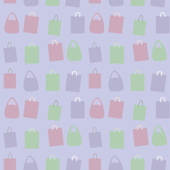 vector paper colored group composition of packages with handles background seamless pattern blue