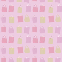 vector paper colored group composition of packages with handles background seamless pattern pink