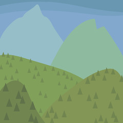 fresh green blue mountains and hills with coniferous trees landscape blue sky illustration vector
