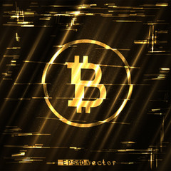 glitch bitcoin golden sign shining light