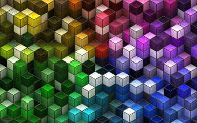 3d Background of colorful cubes