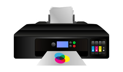Vector illustration of home digital inkjet cmyk printer with subtractive color mixing