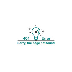 Vector illustration of error 404 page not found concept wilth lightbulb