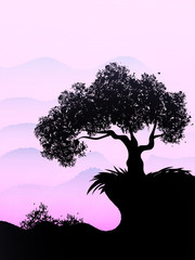 Lonely ebony grows on a hill in the violet sky. Vector