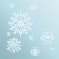 blue background with snowflakes in a cold winter. A card for Christmas or a holiday. Vector