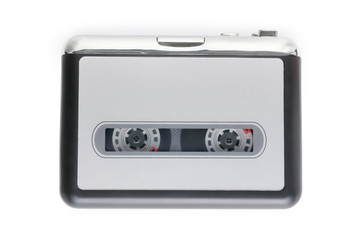 Small cassette player isolated on white with clipping path