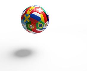 soccer football ball flags 3d rendering