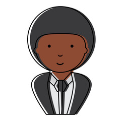 cartoon businessman with afro hairstyle over white background, colorful design.  vector illustration