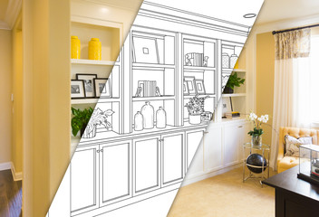 Custom Built-in Shelves and Cabinets Design Drawing with Cross Section of Finished Photo