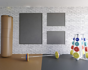 Mock up scene, 3d illustration , sport, gym, fitness  sport,  stock,  template,  tile,  trainer,  up,  view,  wall,  white