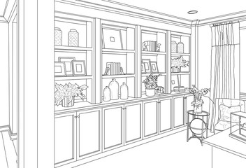 Detailed Drawing of Custom Living Room Built-in Shelves and Cabinets