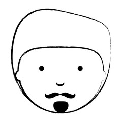 sketch of cartoon man with mustache over white background, vector illustration