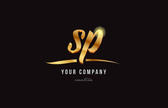 gold alphabet letter sp s p logo combination icon design