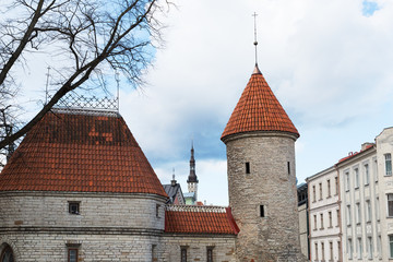 Fortress Wall and the Old Town Tower , Tallinn, Estonia