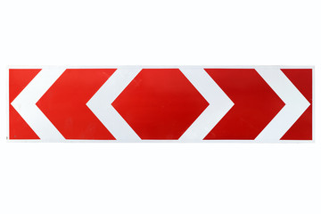 Red and White Arrow Direction Traffic Sign isolated on white
