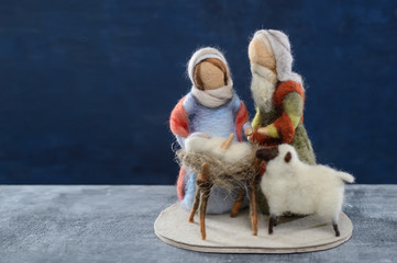 Woolen doll holy pair baby jesus christmas