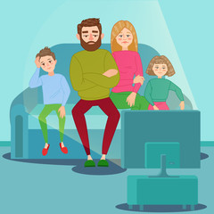 Bored Family Watching TV. Television Addiction. Unhappy Parents with Children Sitting on Sofa behind TV Set. Vector illustration