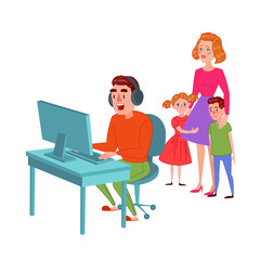 Father Playing on Video Games. Computer Addicted Dad. Man Gamer. Family Problems Parenting Issues Concept. Vector illustration