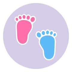 A badge of the footprint of the child. Baby footprints twin baby girl and boy
