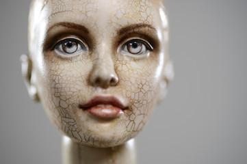 Porcelain paper mache clay overalls blonde girl portrait