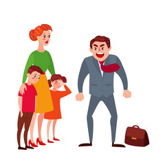 Furious Father Yelling at his Wife and Kids. Family Quarrel Parents Issues. Angry Man Shouting on Children. Vector illustration