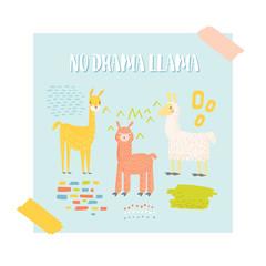 Cute Llama Design for Poster, Invitation, Decoration Card. Childish Alpaca Background. Vector illustration