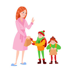 Happy Mother Prepares her Sons for School. Cartoon Mom Giving Lunch to the Boy. Parenting Concept. Vector illustration