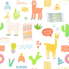 Lamas Seamless Pattern. Hand Drawn Childish Background with Alpaca and Cactuses for Fabric Textile, Wrapping Paper, Decoration. Vector illustration