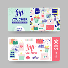 Gift Voucher Templates. Discount Coupon Certificate Card with Shopping Bags and Fashion Elements. Sale Promotion, Banner, Flyer, Web Design. Vector illustration