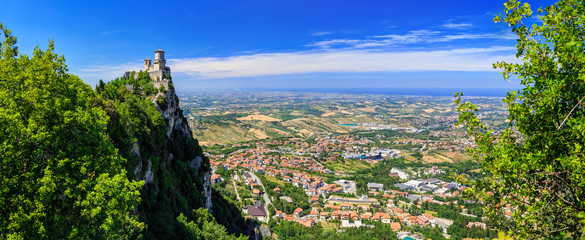 Beautiful Panorama of San Marino and Italy from Monte Titano Mountain. Fortress Guaita is the most famous tower of San Marino. Wall mural